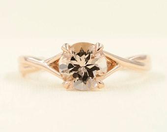 Morganite Engagement Ring.7mm Natural Morganite 14k Rose Gold Wedding Ring.Minimalist Bridal Ring.Solitaire Ring.Simple Engagement Ring.
