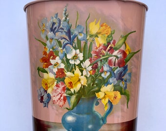 Circa 1950s - Vintage lithographed tin waste basket with floral bouquet - GSW Quality
