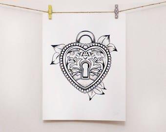 Screen Print Artwork - Graphic Heart Padlock - Tattoo Style Illustration