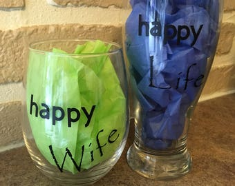 Happy Wife, Happy Life wine and beer glass set