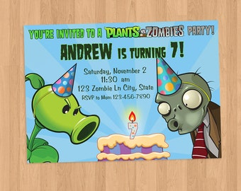 Plants vs Zombies Birthday Invitation Printable