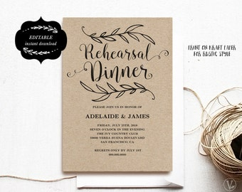 Printable Rehearsal Dinner Invitation Card Template, Kraft Rehearsal Dinner Card, Instant DOWNLOAD - EDITABLE Text - 5x7, RD001, VW01