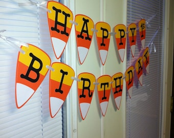 Candy Corn banner, Halloween banner, Halloween party, halloween birthday banner, Halloween birthday