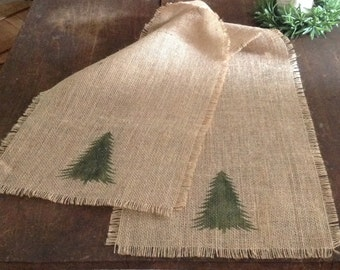 Burlap Christmas Tree Table Runner 12-14 by 96, 108 or 120 Rustic Holiday Table Decor by sweetjanesplan