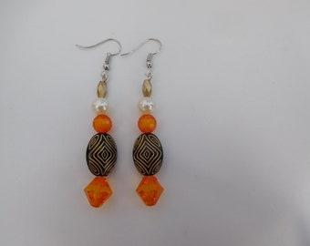 Orange and gold bead earrings