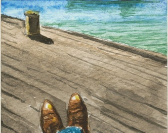 Sittin' On The Dock Of A Bay - original aceo miniature watercolour painting watercolor