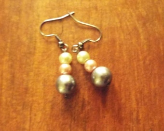 Tri-colored Glass Bead Earrings
