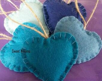 Set of 5 Mini Wool Felt Hearts, Felt Heart Decorations, Heart Ornaments, Wool Ornaments, Christmas Decorations