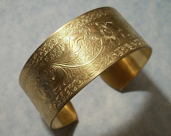 Unfinished Raw Brass Cuff Bracelet Blank Floral Cuff