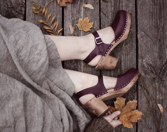 Swedish Clogs Highwood Aubergine Brown Base Sole Leather by Lotta from Stockholm / Wooden Clogs / Summer Sandals / High Heel Shoes /