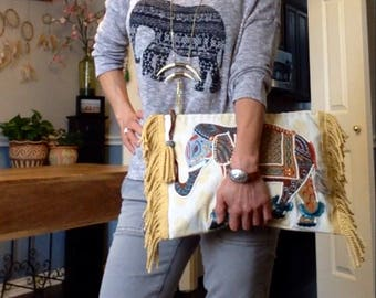 Bohemian Indian oversized elephant clutch with fringes