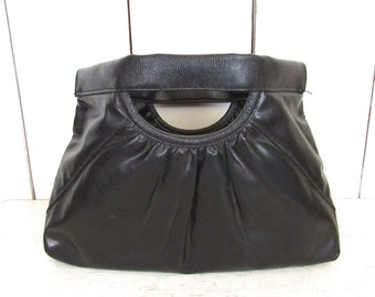 80s Vinyl Clutch Vintage Black Faux Leather Flex Frame Handbag Purse