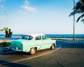 Green Classic Car - Photography Fine Art Print, 1950s Car, Summer Print, Travel Photography, Cuban Art, Cuba Car, Wanderlust, 50s Car, Ocean