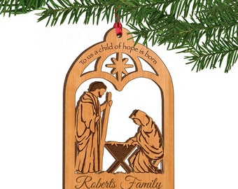 Personalized A Child of Hope is Born Wooden Ornament