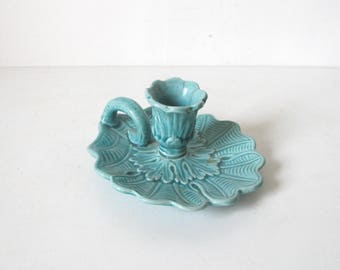 French vintage ceramic Turquoise Candle holder • candlestick • chamberstick