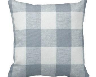 blue plaid pillows, steel blue accent pillow, buffalo check pillow cover, couch pillows, decorative pillows, blue throw pillow, chair pillow