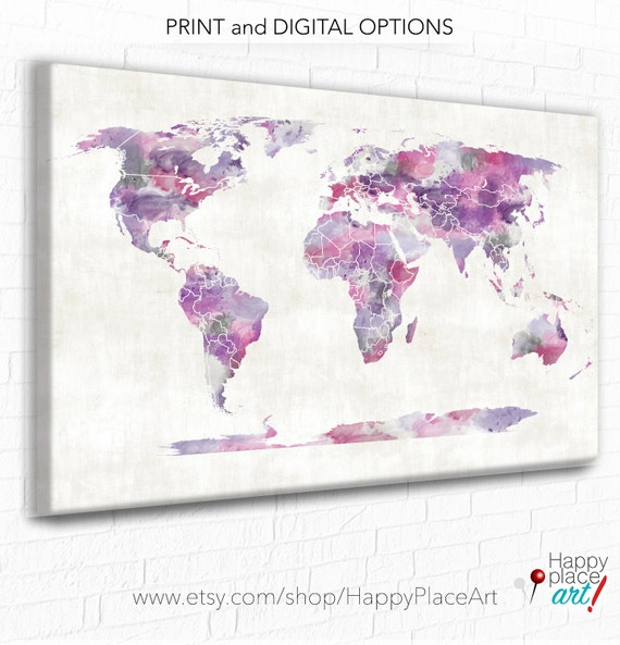 World map canvas pink and purple watercolor world map like this item gumiabroncs Image collections