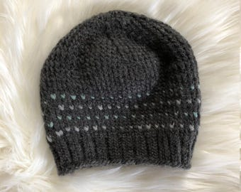 Child/Small Adult-Sized Grey and Mint Crocheted Beanie
