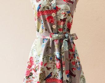 USD20 SALE - Size L XL-Dress Shirt Dress Summer Dress Vintage Modern Dress Sundress