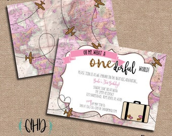 CUSTOM Birthday Party Invitations - What a ONEderful World! - Pink & Gold Vintage Map and Plane