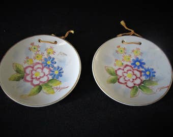 1950s Japan Hanging Miniature Plates Post War Pair Made by Blume Rare Vintage