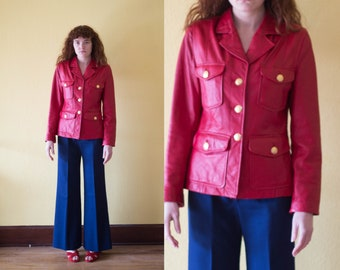 70s 80s Red LeatherJacket Military Jacket Gold Button Up Pocket Coat Collared Coat Spring Coat Crop Coat Trench Coat