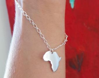 Africa bracelet Africa charm bracelet silver Africa jewelry silver bracelet