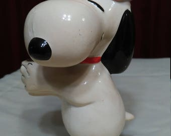 vintage Snoopy Christmas candle holder
