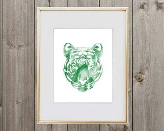 Green Tiger Digital Print 8x10 Instant Download Wall Art