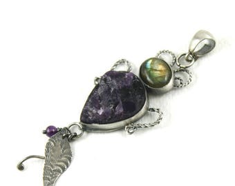Beetle pendant, raw amethyst pendant, beetle jewelry, nature inspired,  nature lover gift, silver beetle, insect pendant, amethyst jewelry,