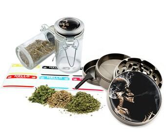"Skull Smoking - 2.5"" Zinc Alloy Grinder & 75ml Locking Top Glass Jar Combo Gift Set Item # G022115-055"