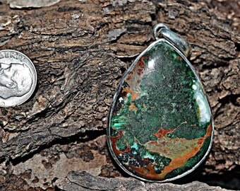 Sonora chrysocolla Pendant, Silver Pendant, Chrysocolla Silver Pendant, Natural Chrysocolla Pendant, Chrysocolla Stone Pendant