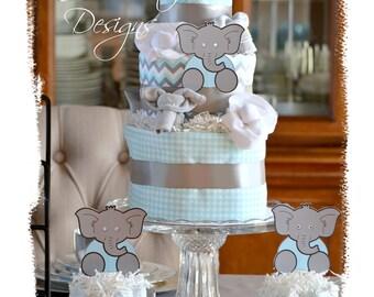 Baby Shower Table Centerpiece, Aqua Gray Elephant Diaper Cake Set, Neutral Elephant Diaper Cake, Baby Shower Table Decor, Diaper Cake Gift