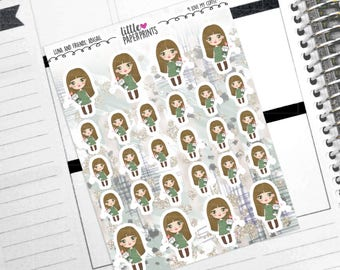 """ABIGAIL - """"I Love My Coffee!"""" Decorative Planner Stickers from the Little Luna and Friends Collection Series"""