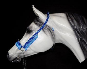 Hand Braided Arabian Style Show Halter, Horse Tack, ELECTRIC BLUE  / TURQUOISE  ---New!