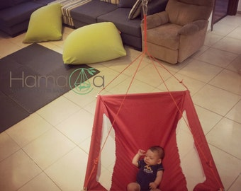 Baby Hammock swing, hanged Cradle, hanged Bassinet - Red - handmade and unique hammocks. Great for twins/ newborn/ toddlers. Free shipping!