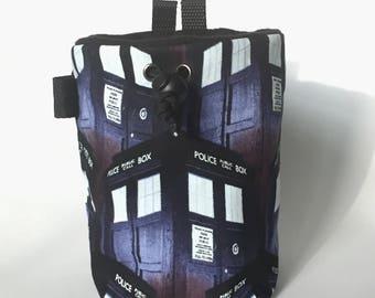 Tardis Rock Climbing Chalk Bag, Dr Who, Zipper Pocket Opt