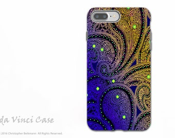 Purple Paisley - Apple iPhone 7 PLUS - 8 PLUS Tough Case - Dual Layer Protection - Midnight Astral Paisley by Da Vinci Case