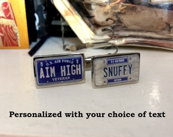 U.S. Air Force Veteran or Retired Personalized License Plate Cuff Links