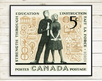 Unique teacher gift ideas, Canadian teacher retirement gifts, Canada education posters, Canadian classroom decor, Canada postage stamp art