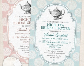 Victorian High Tea Party Bridal Wedding Shower Invitation; Printable, Evite or Printed (US Only) Invitations, Choice of 4 colors