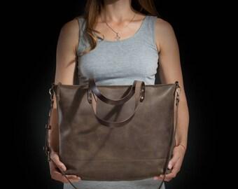 Women's tote bag Tote bag Leather tote bag Women's purse Carryall Shopper Women's gift Birthday gift Brown leather tote bag by Kruk Garage