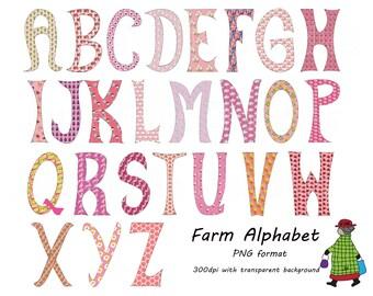 Farm Theme Alphabet Clip Art Hand Drawn Pink PNG clipart A 121