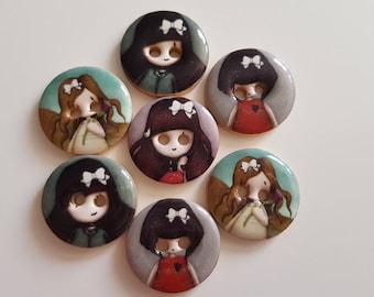 """Set of 5 """"Girls GORJUSS"""" wooden buttons"""