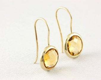 Citrine Earrings, Gemstone Earrings, Gold Gemstone Earrings, Gold Citrine Earrings, 14K Gold Earrings, November Birthstone, Mothers Day 0379