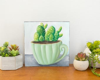 Succulent Original Oil Painting, 8x8 Painting, Green Painting, Succulent and Teacup Painting, Floral Art, Small Painting, Gifts Under 100