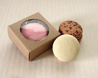 10 Mini Kraft Boxes 2 1/4 x 2 1/4 x 1 inches - Single Macaron or Chocolate Covered Oreo Box, Wedding Favor Boxes