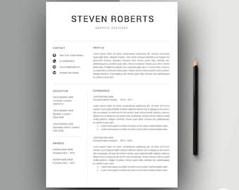 Resume Template | CV Template + Cover Letter | Modern Resume template | 3 Page Pack | Professional Resume Template Word | Resume ''Steven''