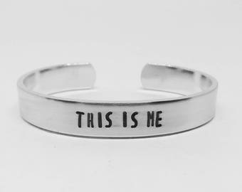 This is Me: Hand Stamped Aluminum Greatest Showman P. T. Barnum circus movie musical quote cuff by fandomonium