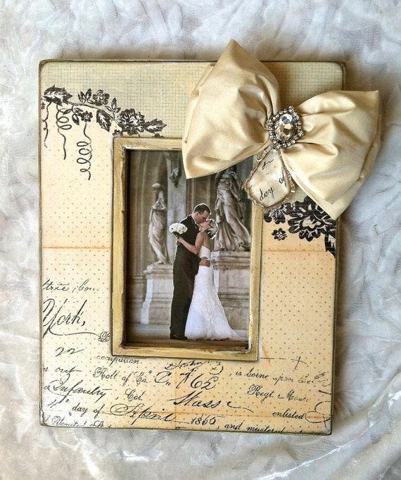 6 Crystal Pearl Photo Picture Frame Diamond Bowknot: Picture Frame Bow Jewel Wedding Photo Diamond Bling Crystal